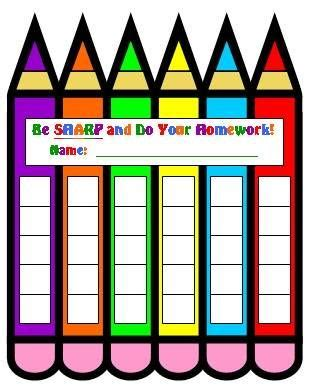 Homemade homework chart